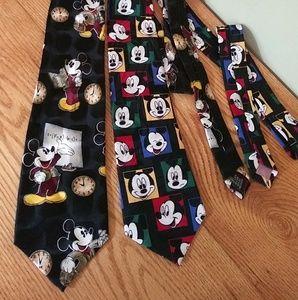 Two Walt Disney Mickey Mouse ties